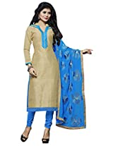 Manvaa ARTISTIC GREEN AND BLUE Embroidered Dress Material