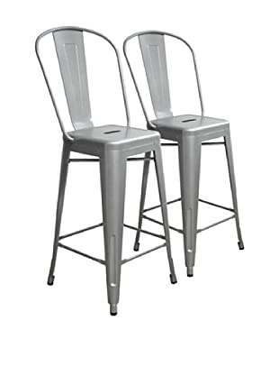 Aeon Set of 2 Garvin Powder Coated Galvanized Steel Counter Stools, Silver