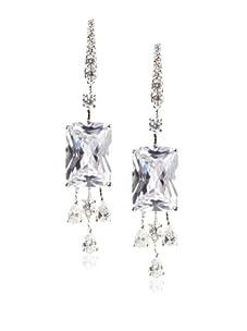 CZ by Kenneth Jay Lane Emerald Cut Dangle Earrings, Silver