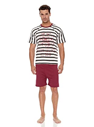 Kumy Pijama Caballero North (Blanco / Granate)