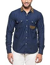 Zovi Cotton Slim Fit Casual Blue Denim Shirt With Corduroy Fabric Collar (11472300801_42)