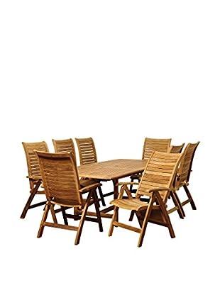 Amazonia Teak Iowa 9-Piece Extendable Rectangular Dining Set, Brown