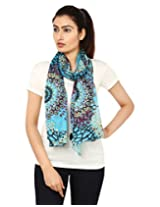 Anekaant Blue Printed Cotton Women's Scarf