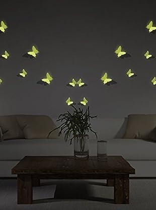 Ambiance Live Vinilo Decorativo 12 Piezas 3D Butterflies Fluorescent