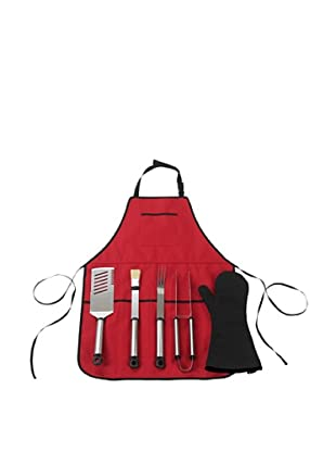 Picnic at Ascot B.B.Q-Chef's Barbecue Apron and Tools (Red)