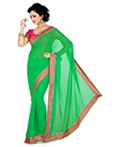 De Marca Women Green Chiffon Casual Saree