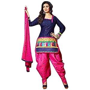 Ayesha Takia Blue Cotton Top With Cotton Bottom & Chiffon Dupatta Printed Work & Embroidery Unstitched Punjabi Patiala Salwar Kameez Suit