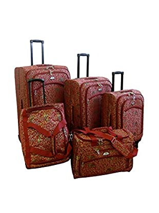 American Flyer 5-Piece Budapest Spinner Luggage Set, Metallic Red