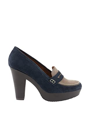 Liberitae Zapatos Plataforma Antifaz (Azul marino / Topo)