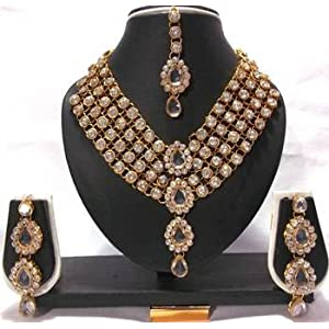 Mirraw 4 Line Stone Dulhan Necklace set - White