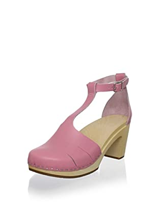 swedish hasbeens Women's Baskemolla Duck Toe T-Strap Sandal (Pink)