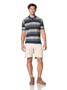 Pringle of Scotland Men's Stripe Jersey Polo (Spring Blue/Fatigue Dark Green)