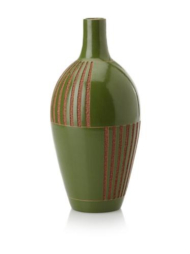 Chaka Modernist Flower Vase (Green/Tan)