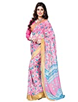 Riti Riwaz Pink & White saree with unstitched blouse RVL333A