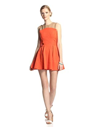 LaPINA Women's Brittany Fit-and-Flare Dress (Orange/Tan)