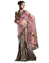 Anvi Creations Net Brocade Pink Embroidered Lehenga Saree (Pink_Free Size)