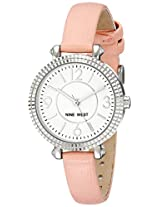 Nine West Women's NW/1715WTPK Silver-Tone Watch with Pink Faux-Leather Strap