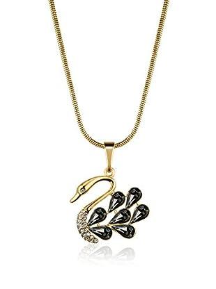 Philippa Conjunto de cadena y colgante 7 Crystal Feathers Swan metal bañado en oro 24 ct