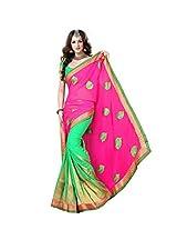 Green Pink Wedding Wear Indian Saree-Zari Embroidery Work Bollywood Chiffon Sari