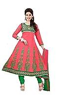 Cotton Printed Pink Anarkali Suit - NIH10