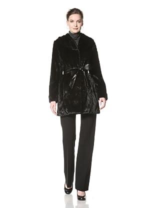 Ellen Tracy Women's Faux Fur Jacket with Belt (Black)