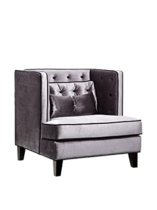 Armen Living Moulin Chair in Velvet with Contrast Piping, Gray/Black