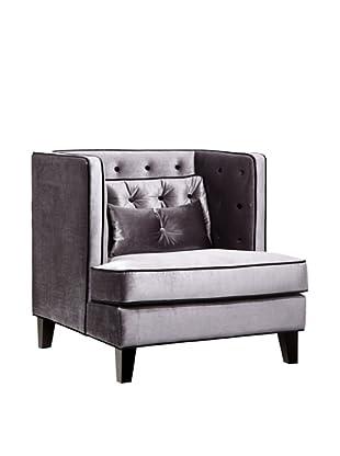 Armen Living Moulin Velvet Chair, Gray/Black