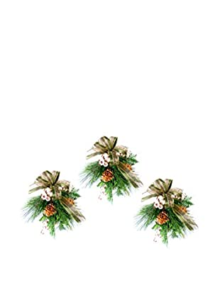 Creative Displays Set of 3 Pine & Berry With Green Ribbon, Green/Gold/White