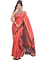 Exotic India Cranberry-Red Saree from Jharkhand with Woven Stripes - Red