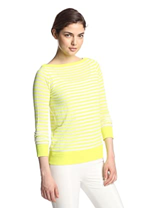 M.Patmos Women's Pointelle Stripe Boatneck Sweater (Neon/White)