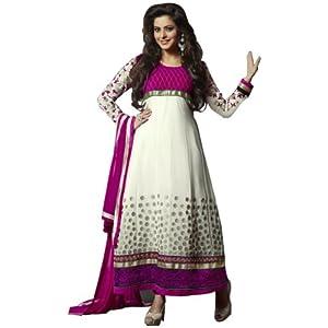 Aamna Sharif in White n Pink Colour Long Anarkali Dress