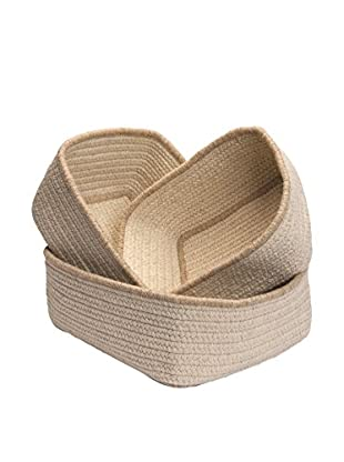 Colonial Mills Set of 3 Natural Style Rectangular Nesting Baskets, Canvas