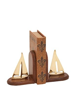 Wooden Brass Sailboat Bookends