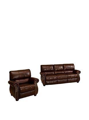 Abbyson Living Lea-Lee Italian Leather 2-Piece Sofa & Armchair, Burgundy