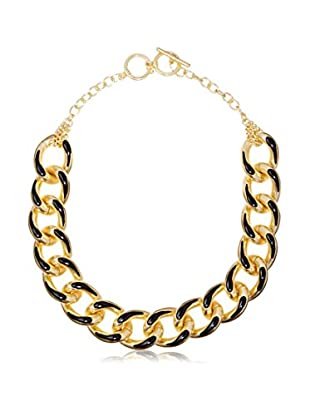 Karine Sultan Jewelry Gold and Black Enamel Link Chain Necklace