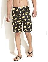 Puppy Dog Face Printed Shorts -Dark Brown-L