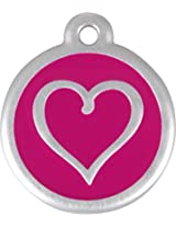 RedDingo Heart Tag with Call Center Number, Large, Pink