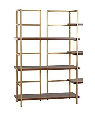 Artistic Balart Mid Century Shelf Unit, Walnut/Gold