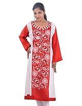 Zam Zam Womens Linen Resham A-Line Kurta (Ni00089_Red, White)