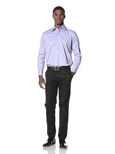 Valentino Men's Dress Shirt (Dark Blue Pattern)