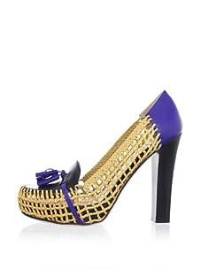Chelsea Paris Women's Moho Woven Platform Loafer (Blue/Black)