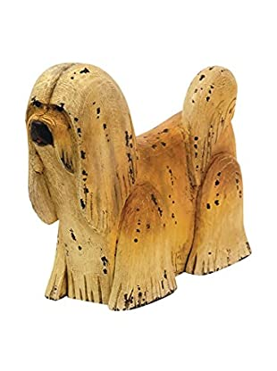 Go Home Shaggy Statue, Ivory/Brown