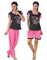 Fasense Exclusive Women Cotton Nightwear Nightsuit Top, Pyjama & Shorts Set, SS071 (Medium, Black & Pink)
