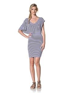 Luna  Women's Bryce V-Neck Striped Dress (Ocean/White Stripe)