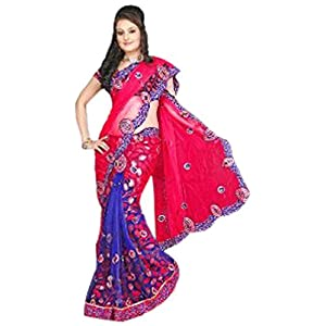 Fuchsia Net and Brasso Faux Georgette Lehenga Style Saree with Blouse