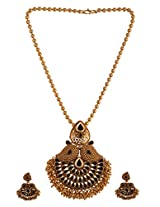 Ganapathy Gems 1 Gram Gold Plated Pendant Set With Black Stones And Golden Drops With Chain (8447)