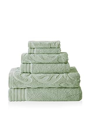 Luxury Home 6-Piece Medallion Swirl Egyptian Cotton Towel Set, Celadon