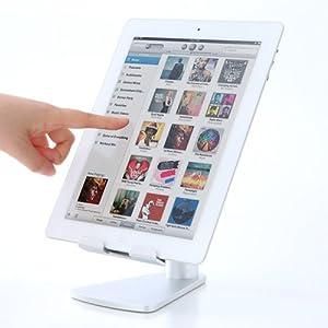 サンワダイレクト iPadスタンド タブレットPCスタンド アルミスタンド 縦置・横置き対応 シルバー 200-STN005