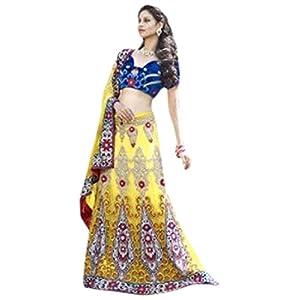 Net and Velvet Lehenga Saree in Yellow Colour 813