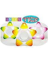 Intex Inflatable Star Shape Swim Rings Green, Orange & Pink Gift Set Bundle - 3 Pack